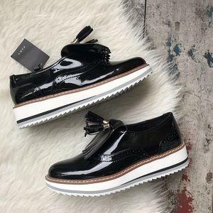 Zara black platform oxfords Sz 6.5 Women's NWT